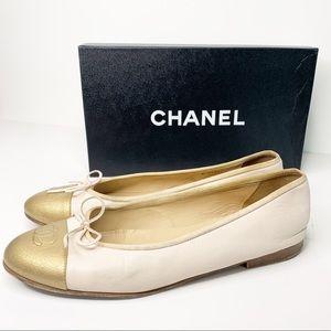 Chanel Pink Calfskin Gold Toe Cap Ballet Flats 40